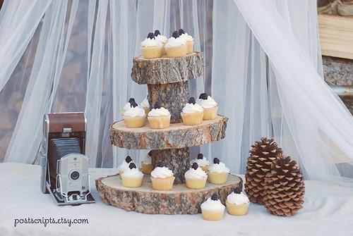 rustic dessert stand