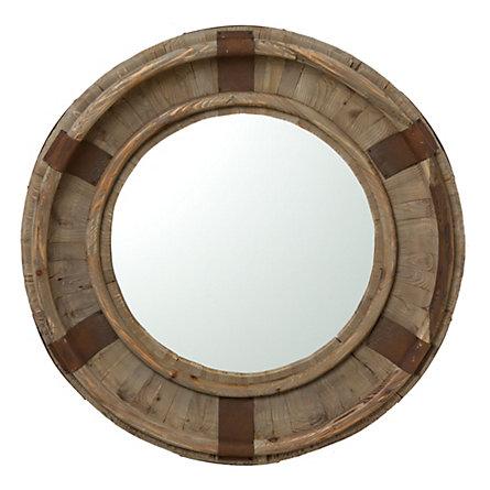 Round Wood Mirror