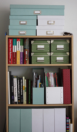 Add some color and organize your office space as well with magazine files and boxes