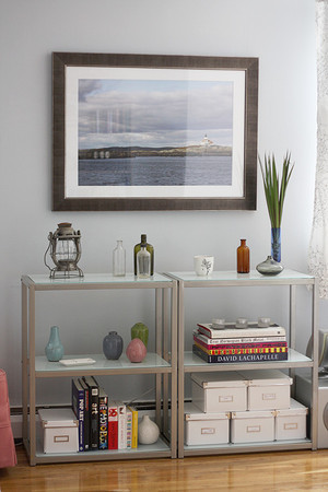 Glass shelves allow more space to showcase your favorite items