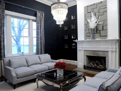 Deep Navy and Fog Gray - Living Room