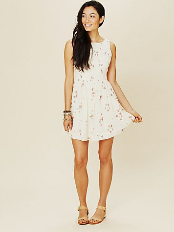 White Summer - Lace Inset Fit and Flare Dress