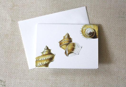Nautical Newsies - Yellow Seashell Notecards