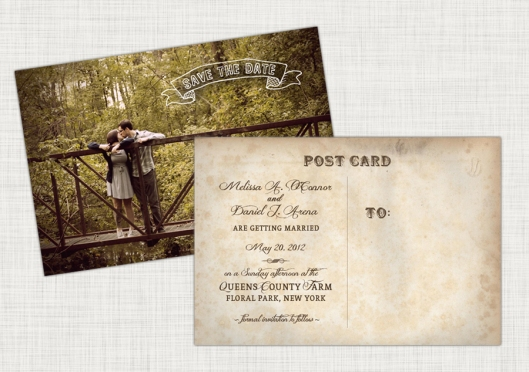 The Wedding Shop - Vintage Inspired Save the Date Postcard