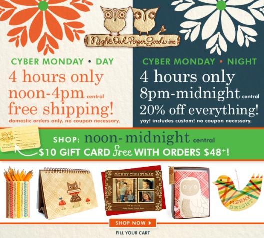 Super Sale at Night Owl Paper Goods