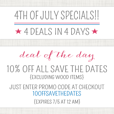 Gray Star Design 4th of July Specials: 10% off All Save the Dates