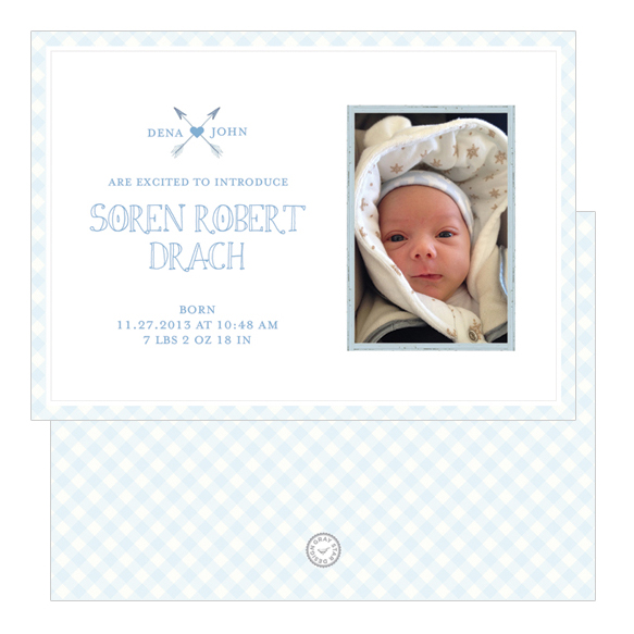 Gingham Unisex Baby Announcement