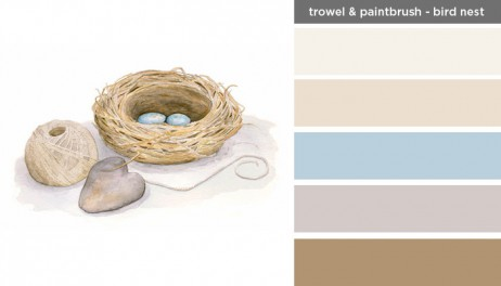 New Art Inspired Palette: Trowel and Paintbrush-Bird Nest
