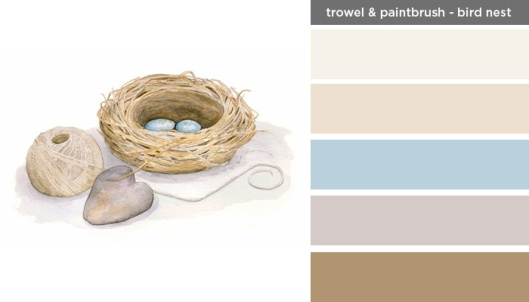 Art Inspired Palette: Trowel and Paintbrush-Bird Nest