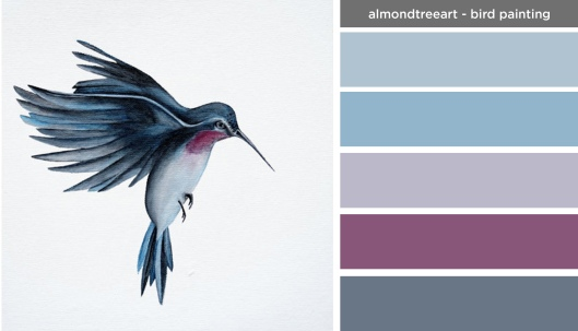 Art Inspired Palette: Almond Tree Art-Bird Painting