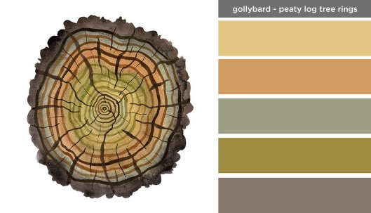 Art Inspired Palette: Golly Bard-Peaty Log Tree Rings