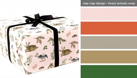 Art Inspired Palette: Clap Clap Design-Forest Animals Wrapping Paper