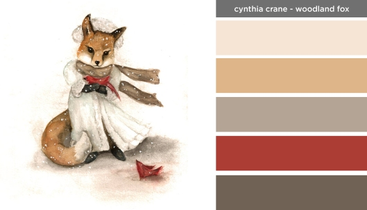 Art Inspired Palette: Cynthia Crane-Woodland Fox with Red Cardinal