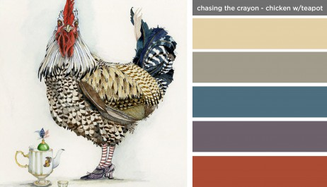 Art Inspired Palette: Chasing the Crayon-Chicken with Teapot
