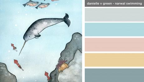 Art Inspired Palette: Danielle V Green-Narwal Swimming