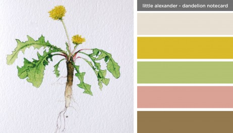 Art Inspired Palette: Little Alexander-Dandelion Notecard