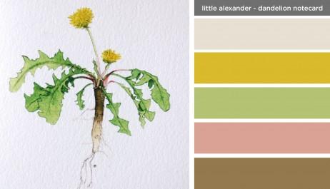 Art Inspired Palette: Little Alexander-Dandelion Notecard