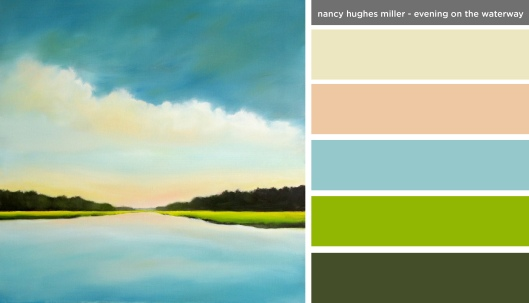 New Art Inspired Palette: Nancy Hues Miller-Evening on the Waterway