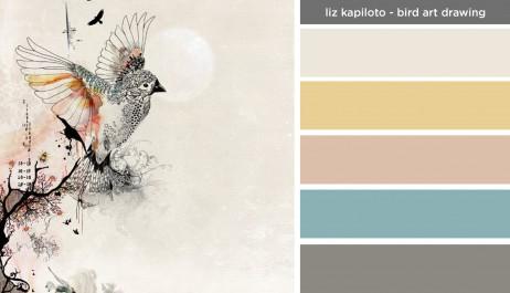 Art Inspired Palette: Liz Kapiloto-Bird Art Drawing
