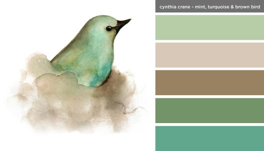 Art Inspired Palette: Cynthia Crane-Mint, Turquoise and Brown Bird
