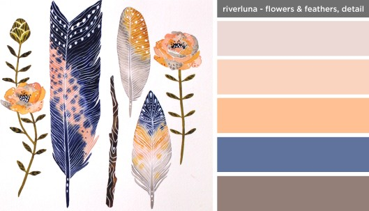 Art Inspired Palette: River Luna-Flowers and Feathers