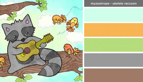 Art Inspired Palette: My Zoetrope-Ukelele Raccoon