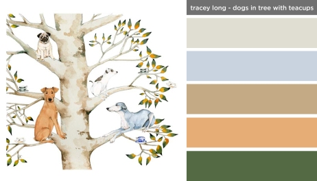 Art Inspired Palette: Dogs in Tree with Teacups