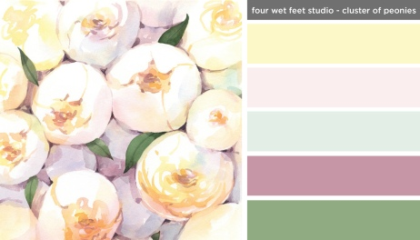 Art Inspired Palette: Four Wet Feet Studio-Cluster of Peonies